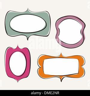 Jeu de doodle vecteur dessiné à la main, des cadres colorés Banque D'Images