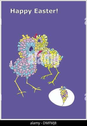 Carte Joyeuses Pâques avec des poules Banque D'Images