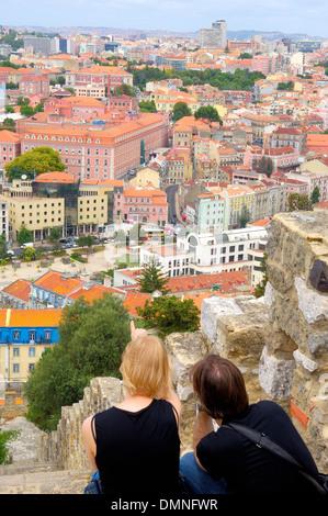 Lisbonne, vue depuis le Château Saint-Georges, le Portugal, l'Europe Banque D'Images