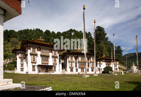 Le Bhoutan, la vallée de Bumthang, monastère de Kurjey Lhakang Banque D'Images