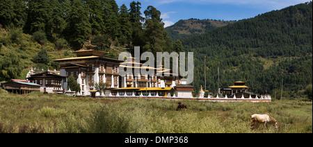 Le Bhoutan, la vallée de Bumthang, Kurjey Lhakang, vue panoramique de bâtiments du monastère Banque D'Images