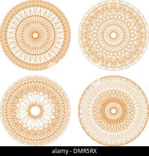 Certificat ou diplôme rosettes guillochée, éléments décoratifs Banque D'Images