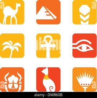 L'Égypte d'icônes et d'éléments de conception block isolé sur blanc ( orange, rouge ) Banque D'Images