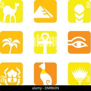 Les icônes de l'Égypte et des éléments de conception de bloc ( jaune, orange ) Banque D'Images