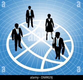 Les gens d'affaires se tenir sur grille symbole globe Banque D'Images