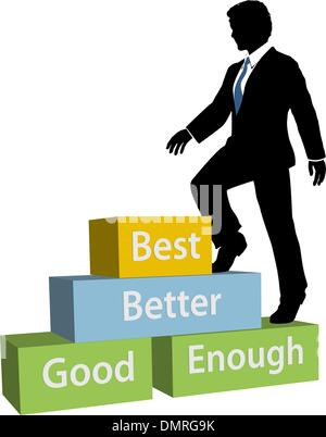 Personne d'affaires monte jusqu'meilleures mesures de promotion Banque D'Images