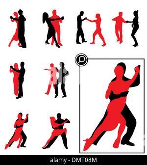 Jeu de silhouettes dansant Banque D'Images