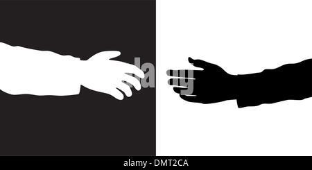 Deux mains vector Banque D'Images