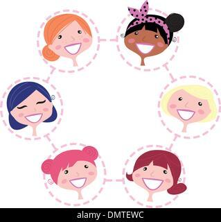 Réseau multiculturel femmes groupe isolé sur blanc┬á Banque D'Images