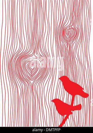 Texture bois avec des cœurs et des oiseaux, vector Banque D'Images