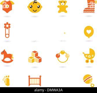 Vector collection icônes orange pour l'enfant isolé sur fond blanc