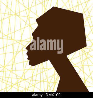 Visage femme africaine, silhouette vecteur stylisé portret Banque D'Images