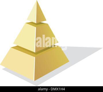 Vector illustration de pyramide d'or sur fond blanc Banque D'Images
