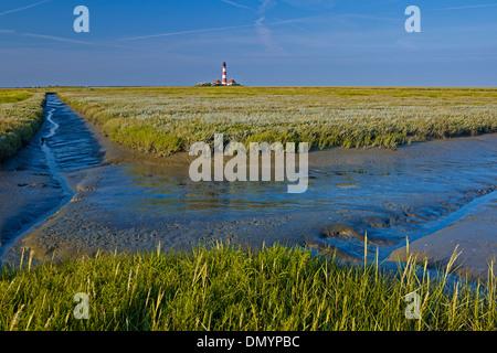Leuchtturm Westerheversand, péninsule Eiderstedt, Frise du Nord, Schleswig-Holstein, Allemagne Banque D'Images