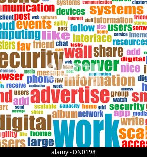 Social media concept dans tag cloud background Banque D'Images