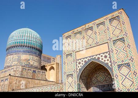 Mosquée Bibi Khanym, également connu sous le nom de mosquée de Bibi-Khanum, Samarkand, Ouzbékistan Banque D'Images
