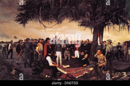 Général mexicain Santa Anna se rend à Sam Houston Texans à la bataille de San Jacinto - 21 Avril 1836 Banque D'Images