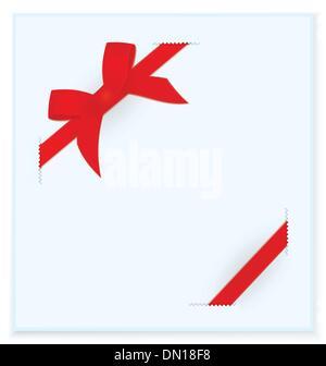 Ribbon bow blue card vector