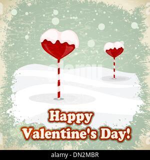 Des bonbons en forme de cœur dans la neige. eps10 Banque D'Images