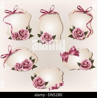 Ensemble de belles étiquettes rétro avec rose rose cadeau et archets. Vect