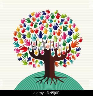Arbre généalogique solidarité coloré mains Banque D'Images