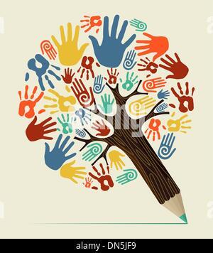 La notion de diversité arbre crayon Banque D'Images
