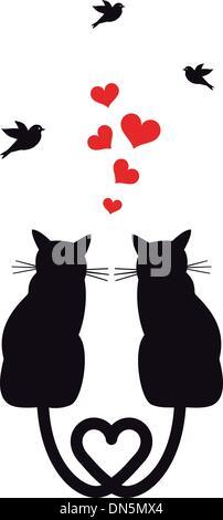 Les chats dans l'amour avec des cœurs et des oiseaux, vector Banque D'Images