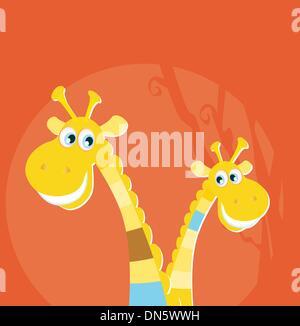 Animaux de safari - grandes et petites girafe Banque D'Images