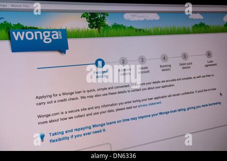 Capture d'Wonga.com site web. Ils sont une société de prêt sur salaire qui offre des prêts à court terme à des taux d'intérêt.