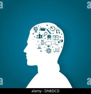 Tête de l'homme avec les icônes de l'éducation Banque D'Images