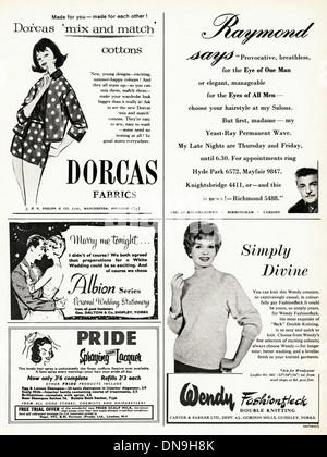 Années 1950, la publicité. Vintage original women's magazine de mode annonces, sélection d'annonces typiques de Banque D'Images
