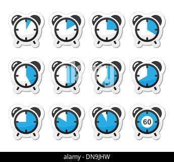 Mesure du temps, de l'horloge vector icons set Banque D'Images