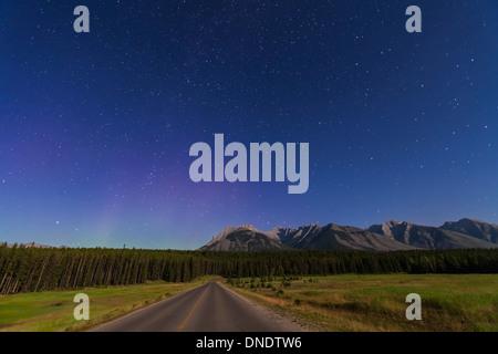 Le nord de l'automne sur une augmentation des constellations road dans le parc national de Banff, Canada. Banque D'Images