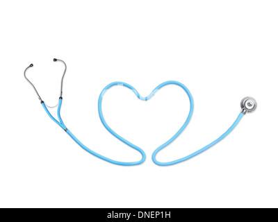Stéthoscope bleu en forme de coeur sur fond blanc Banque D'Images