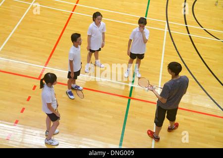 L'île de Hong Kong, Chine Hong Kong Central Park Sports Centre Centre de badminton gymnase intérieur teac étudiant Banque D'Images