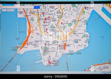 Chine Hong Kong Kowloon Google map des repères rouges street moniteur informatique des caractères chinois cantonais Banque D'Images