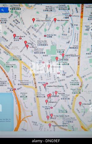 Chine Hong Kong Kowloon Google map rue rouge tags moniteur informatique des caractères chinois cantonais hànzì pinyin Banque D'Images