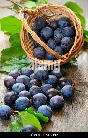 Les prunes mûres sur la table en bois Banque D'Images