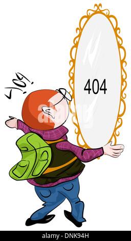 Représentation d'illustration d'un homme regardant 404 miroir sur le mur