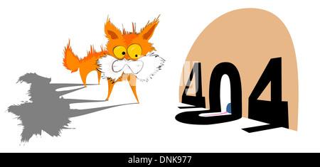 Représentation d'illustration d'un chaton avec message d'erreur 404