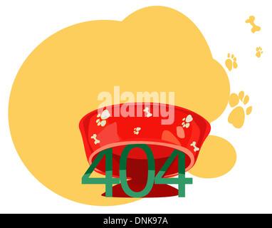 Représentation d'illustration de message d'erreur 404 sous un bol de chien