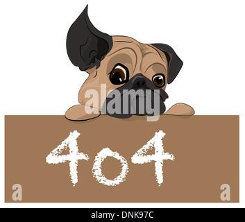Représentation d'illustration d'un chiot avec 404 Message d'erreur