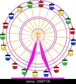 Atraktsion Silhouette grande roue colorée. Vector illustration. Banque D'Images