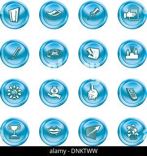 Une série ensemble de bureau et icônes d'affaires Banque D'Images