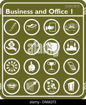 Un ensemble d'icônes d'affaires et de bureau. Banque D'Images
