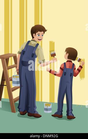 Un vecteur illustration de père et fils peindre un mur à la maison ensemble
