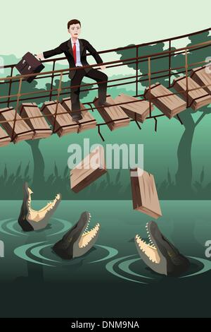 Un vecteur illustration du concept de risque d'affaires où un homme marchant sur un pont cassé avec des crocodiles Banque D'Images