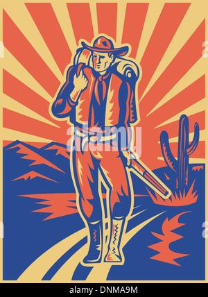 Retro style illustration d'un sac à dos de transport et d'un fusil de cow-boy à marcher avec des montagnes du désert Banque D'Images
