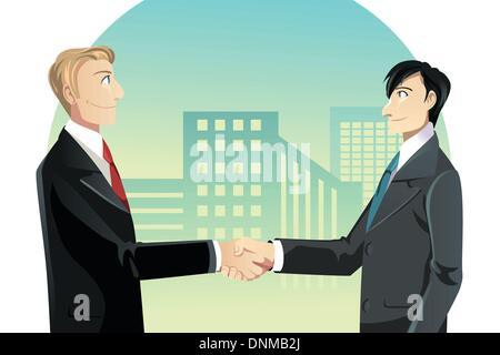 Un vecteur illustration de deux businessmen shaking hands Banque D'Images