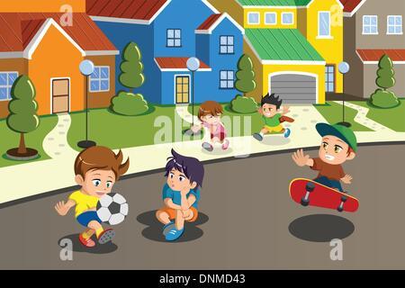 Un vecteur illustration d'enfants heureux de jouer dans la rue d'un quartier de banlieue Banque D'Images